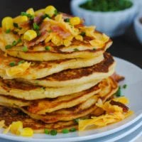 Bacon, Corn & Cheddar Pancakes - A savory treat for breakfast or breakfast-for-dinner!   foxeslovelemons.com