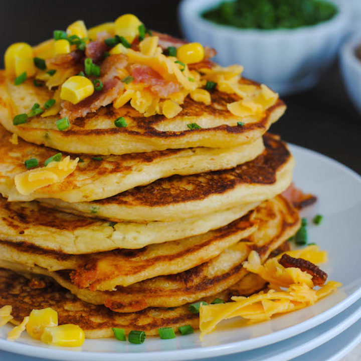Bacon, Corn & Cheddar Pancakes - A savory treat for breakfast or breakfast-for-dinner! | foxeslovelemons.com