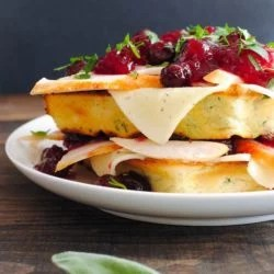 Thanksgiving Leftover Waffles - Savory buttermilk and herb waffles topped with Havarti cheese, and leftover turkey and cranberries! | foxeslovelemons.com