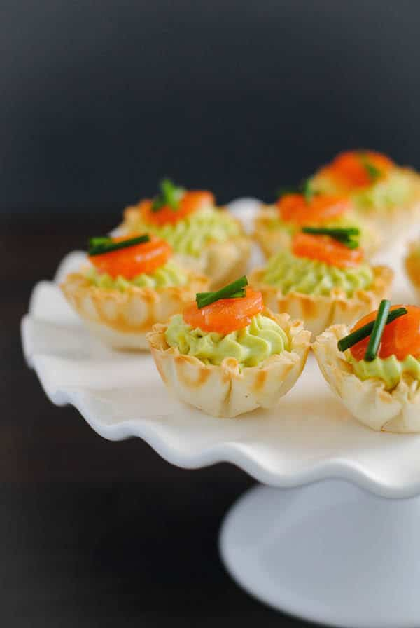 Smoked Salmon & Avocado Mousse Phyllo Cups - A tiny party bite that is full of flavor, perfect for any occasion.   foxeslovelemons.com