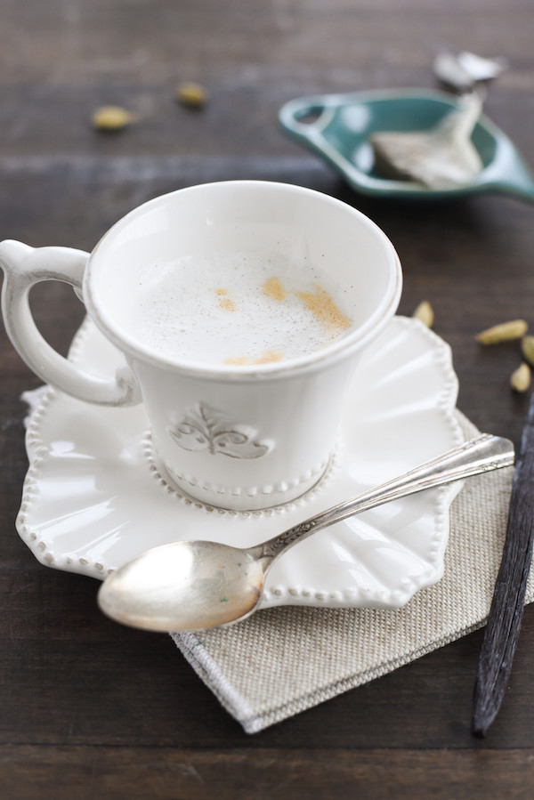 Cardamom-Vanilla Tea Latte - A simple yet special coffehouse-style tea drink, made at home! | foxeslovelemons.com