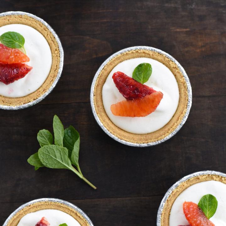 Mini Blood Orange & Frozen Yogurt Tarts - A simple, fast and beautiful dessert that highlights seasonal citrus.   foxeslovelemons.com