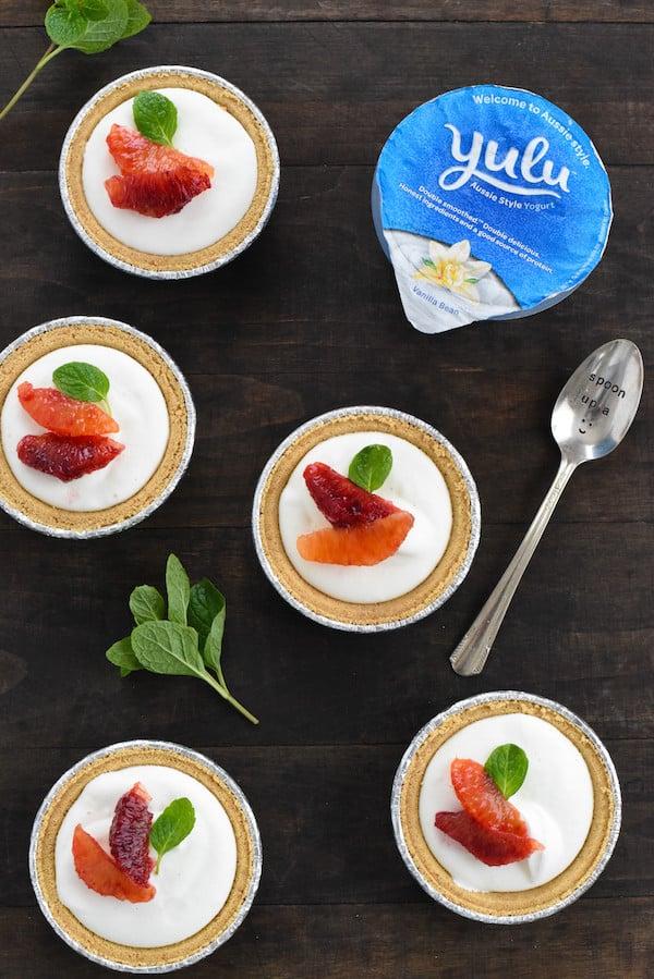 Mini Blood Orange & Frozen Yogurt Tarts - A simple, fast and beautiful dessert that highlights seasonal citrus. | foxeslovelemons.com