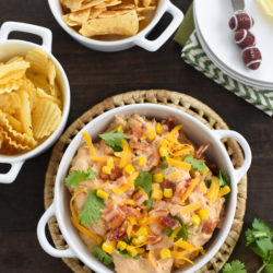 Smoky Barbecue Chicken, Bacon & Corn Dip - All the flavors of a summer barbecue party in a party-perfect chip dip! | foxeslovelemons.com