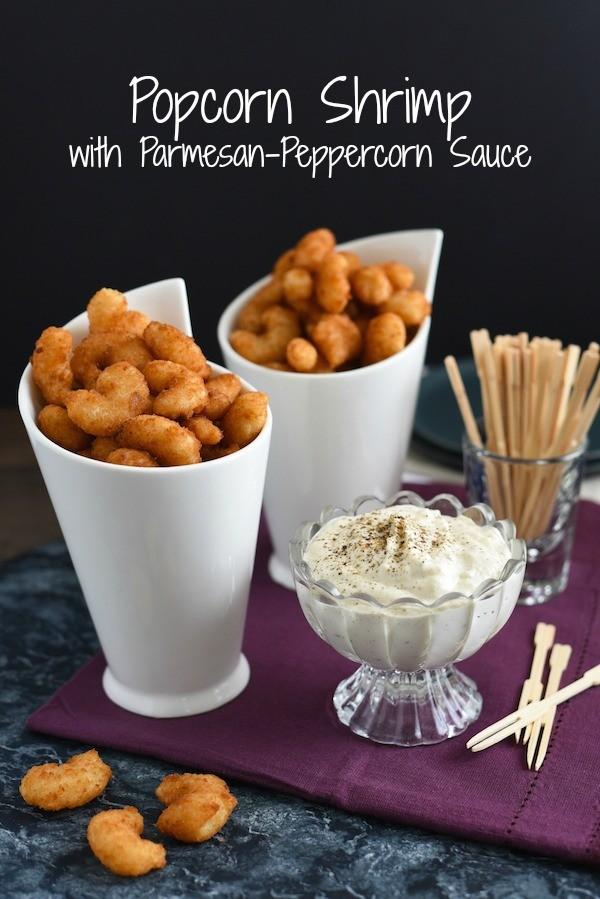 Popcorn Shrimp with Parmesan-Peppercorn Sauce - A quick fix appetizer that impresses! | foxeslovelemons.com