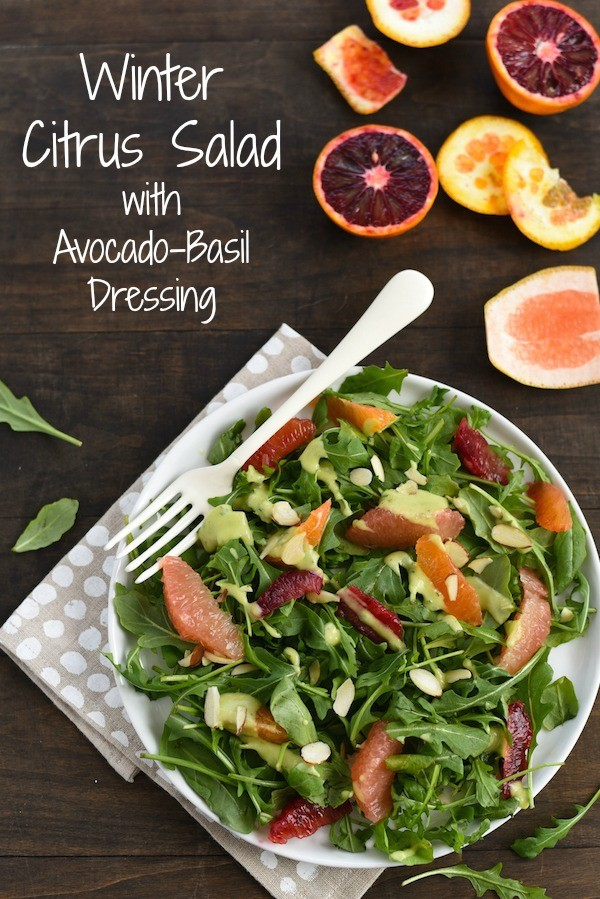 Winter Citrus Salad with Avocado-Basil Dressing - A healthful and flavor-packed salad. Serve as a light lunch, or add shrimp, chicken or chickpeas to turn it into a more substantial meal.   foxeslovelemons.com