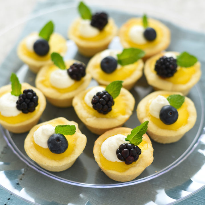 Mini Meyer Lemon Tarts with Ginger Cookie Crust