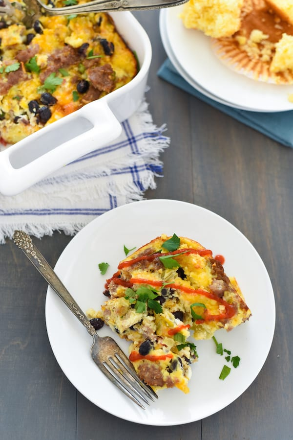 Southwestern Sausage & Cornbread Breakfast Casserole - A hearty but healthy egg casserole packed with sausage, cornbread, and black beans. | foxeslovelemons.com