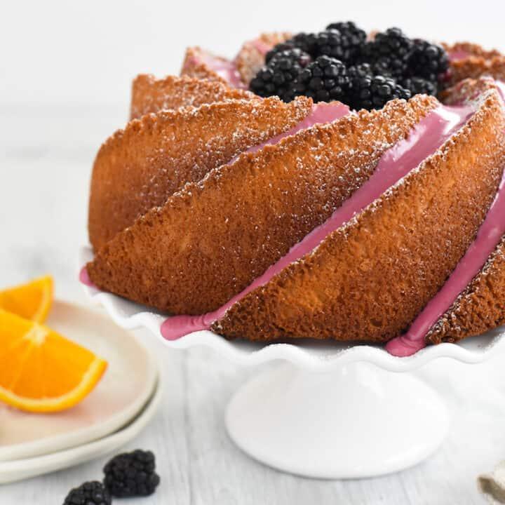 Orange Bundt Cake with Blackberry Icing