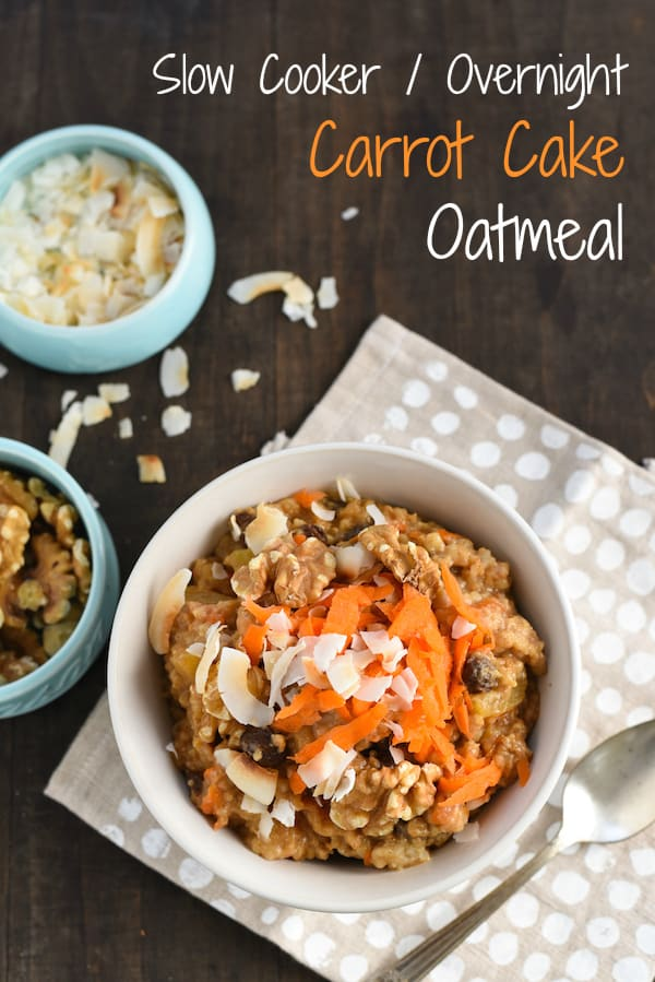 Slow cooker oatmeal topped with carrots and coconut on polka dot napkin. Overlay: Slow Cooker / Overnight Carrot Cake Oatmaeal