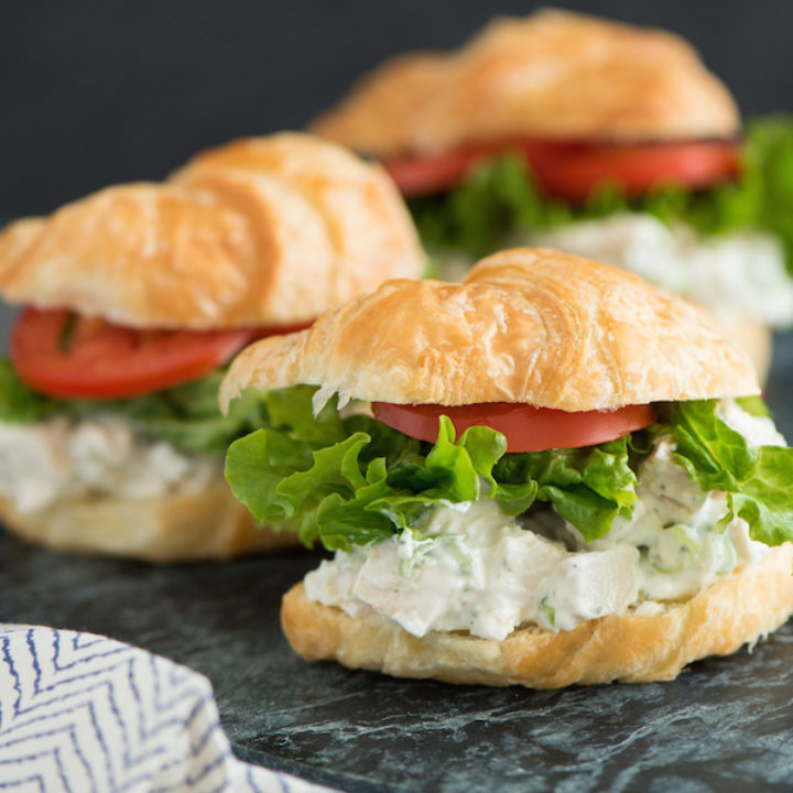 Greek Yogurt Ranch Chicken Salad Sandwiches - Flavor-packed ranch chicken salad sandwiches made with Greek yogurt. Perfect for a party, or to keep in the fridge for lunches throughout the work week! | foxeslovelemons.com