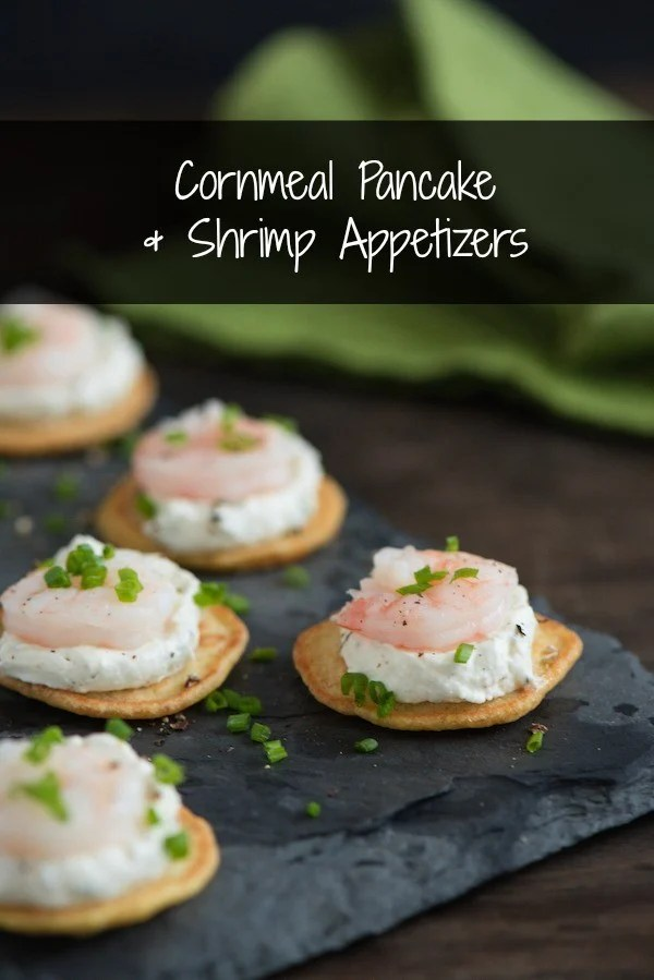 Cornmeal Pancake & Shrimp Appetizers - Elegant and delicious chilled appetizers, perfect for a special party! Mini cornmeal pancakes are topped with dill-horseradish cream and poached shrimp. | foxeslovelemons.com