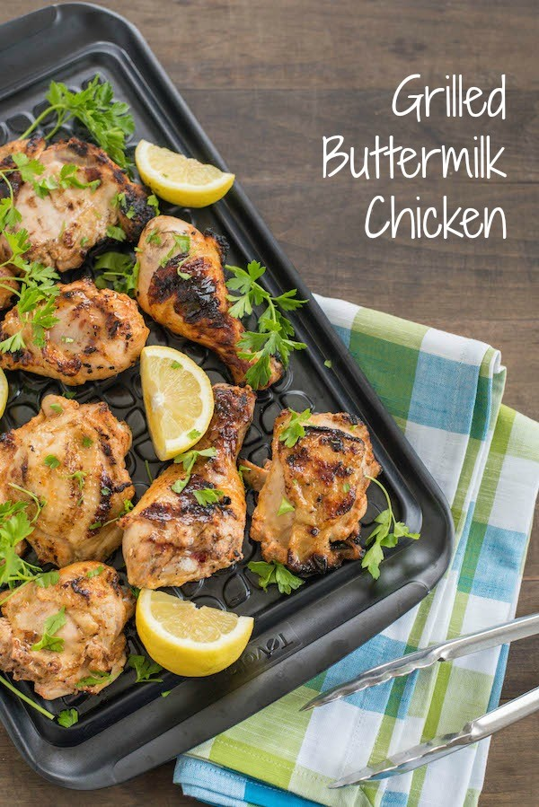 Grilled Buttermilk Chicken - Using buttermilk as a marinade creates such juicy, tender, flavorful chicken that you'll never go back to any other marinade! | foxeslovelemons.com