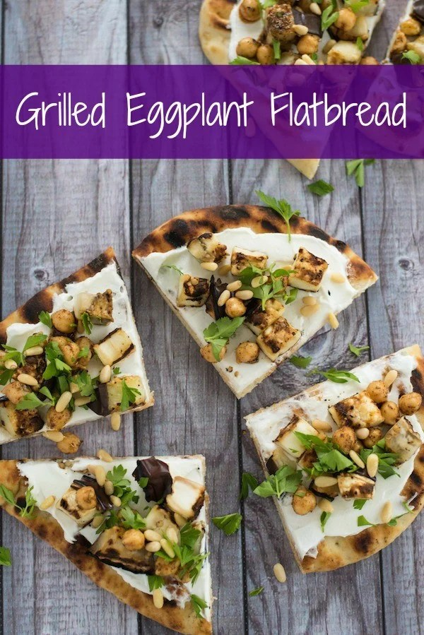 Grilled Eggplant Flatbread - A lovely vegetarian meal or party bite that comes together in a flash. Grilled naan bread is spread with creamy Greek yogurt and topped with grilled eggplant, spiced chickpeas and pine nuts. | foxeslovelemons.com