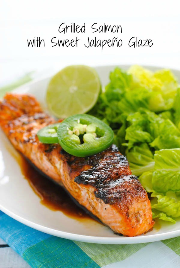 Grilled Salmon with Sweet Jalapeño Glaze - This will be your go-to weeknight meal this summer! Grilled salmon is brushed with a sweet and spicy glaze for a healthful and delicious meal. | foxeslovelemons.com