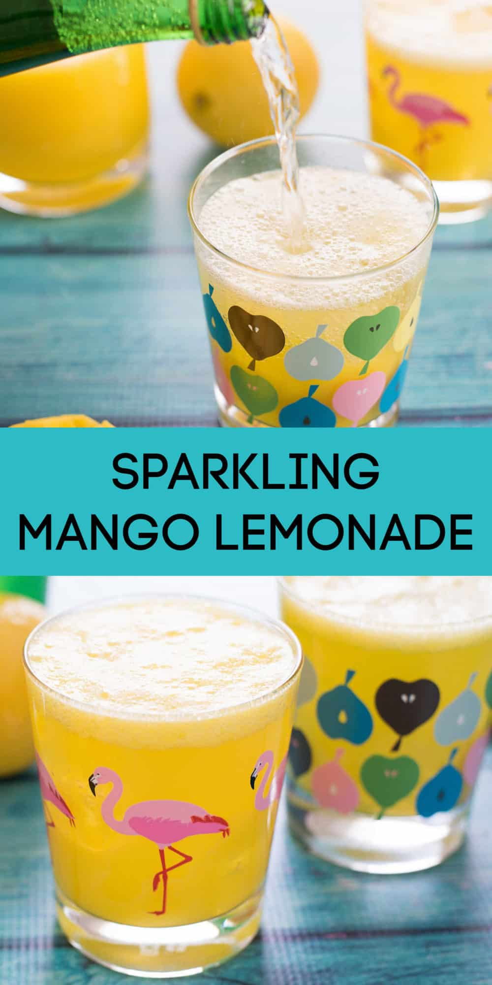 Collage of images of sparkling mango lemonade in printed glasses on teal background. Overlay: SPARKLING MANGO LEMONADE.