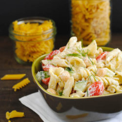 Mixed Shape Pasta Salad - Have a pantry cupboard full of odds and ends of different types of pasta? Use up a few varieties with this fun twist on pasta salad! | foxeslovelemons.com