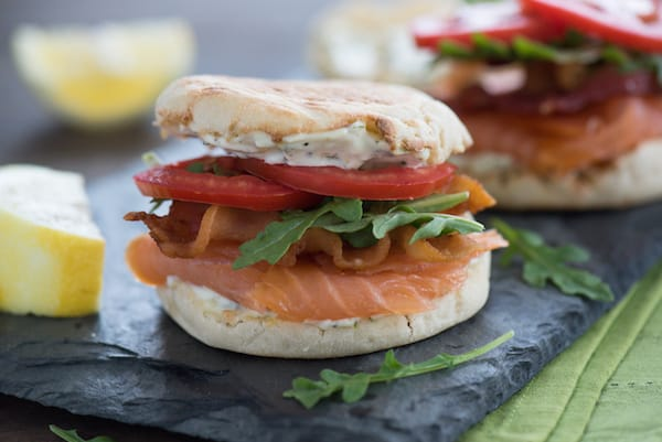 Smoked Salmon BLT with Lemon-Herb Mayonnaise - A fun twist on a classic sandwich that can be enjoyed for breakfast, brunch, lunch or dinner!   foxeslovelemons.com