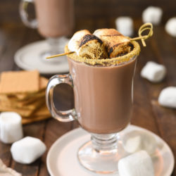 S'mores Hot Chocolate - A simple homemade hot chocolate with a special twist. Calling all s'mores lovers! | foxeslovelemons.com