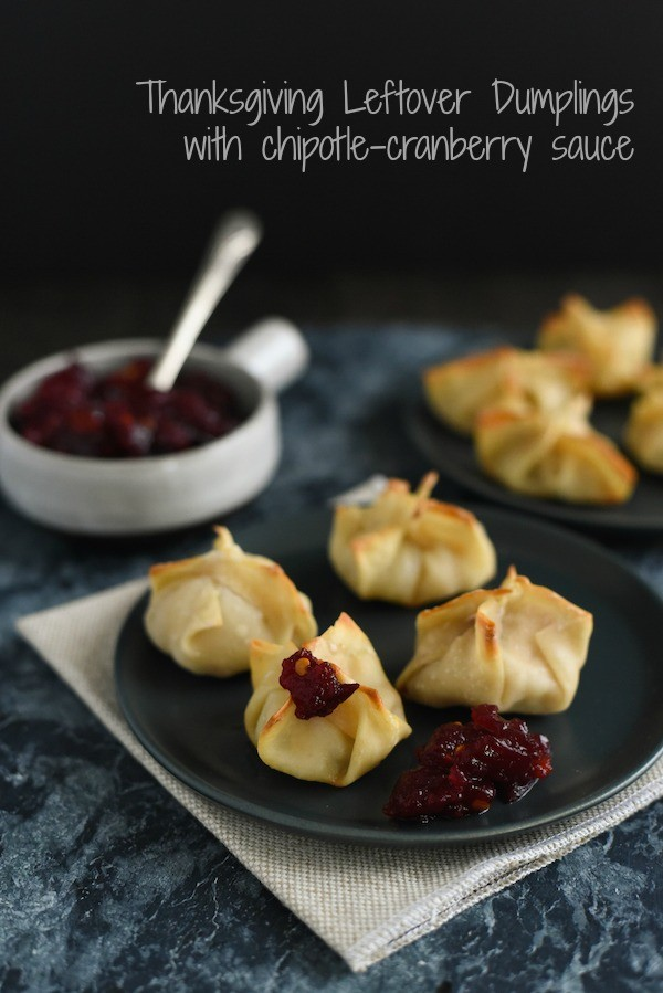 Thanksgiving Leftover Dumplings - Reinvent your leftover turkey, stuffing and cranberry sauce into this fun snack/appetizer! | foxeslovelemons.com