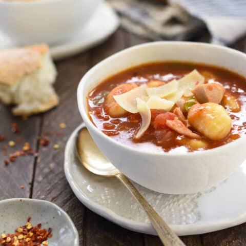 Turkey & Gnocchi Arrabiata Soup - Use leftover turkey (or chicken) and potato gnocchi for this quick-fix Italian-inspired soup!   foxeslovelemons.com