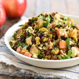 Warm Sautéed Apple & Lentil Salad - A Middle-Eastern inspired vegetarian side dish packed with flavor!   foxeslovelemons.com