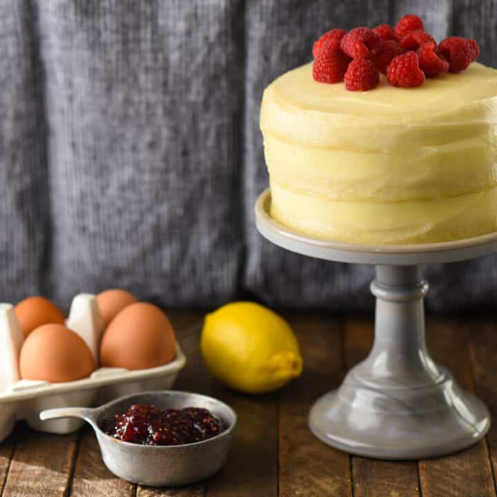 Lemon & Raspberry Cake for Two - This sweet little cake is bursting with enough fruit flavor to brighten up a cold winter day. | foxeslovelemons.com