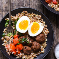 Make-Ahead Breakfast Grain Bowls with Turkey Sausage Meatballs - Prep each part of these breakfast bowls in advance, then quickly assemble on a busy morning!   foxeslovelemons.com