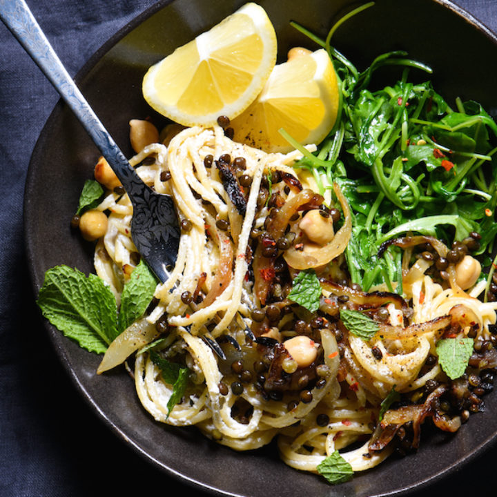 Garlicky Greek Yogurt Pasta with Sautéed Lentils & Chickpeas