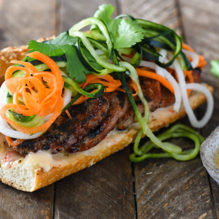 Honey Grilled Pork Banh Mi with Spiralized Pickled Vegetables