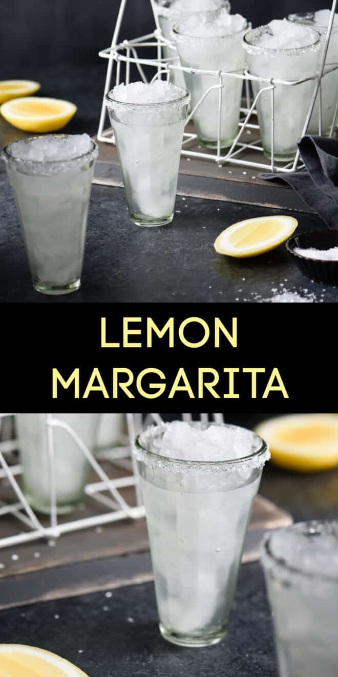 Collage of images of cocktails with overlay: LEMON MARGARITA.