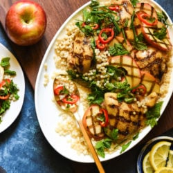 Grilled Chicken & Apples with Couscous - A beautiful, healthful grilled meal for summer or fall! | foxeslovelemons.com