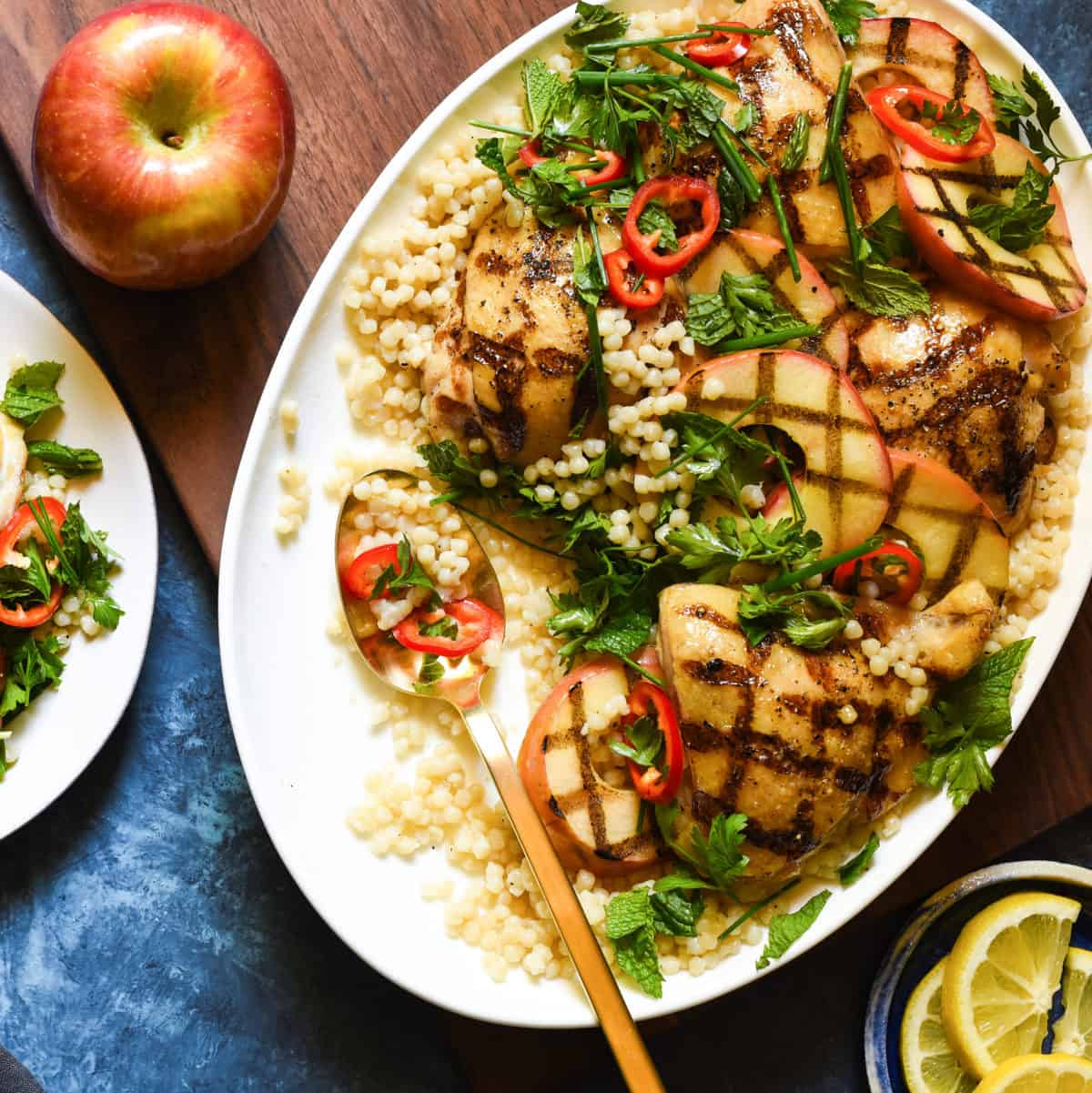 Grilled Chicken & Apples with Couscous - A beautiful, healthful grilled meal for summer or fall!   foxeslovelemons.com