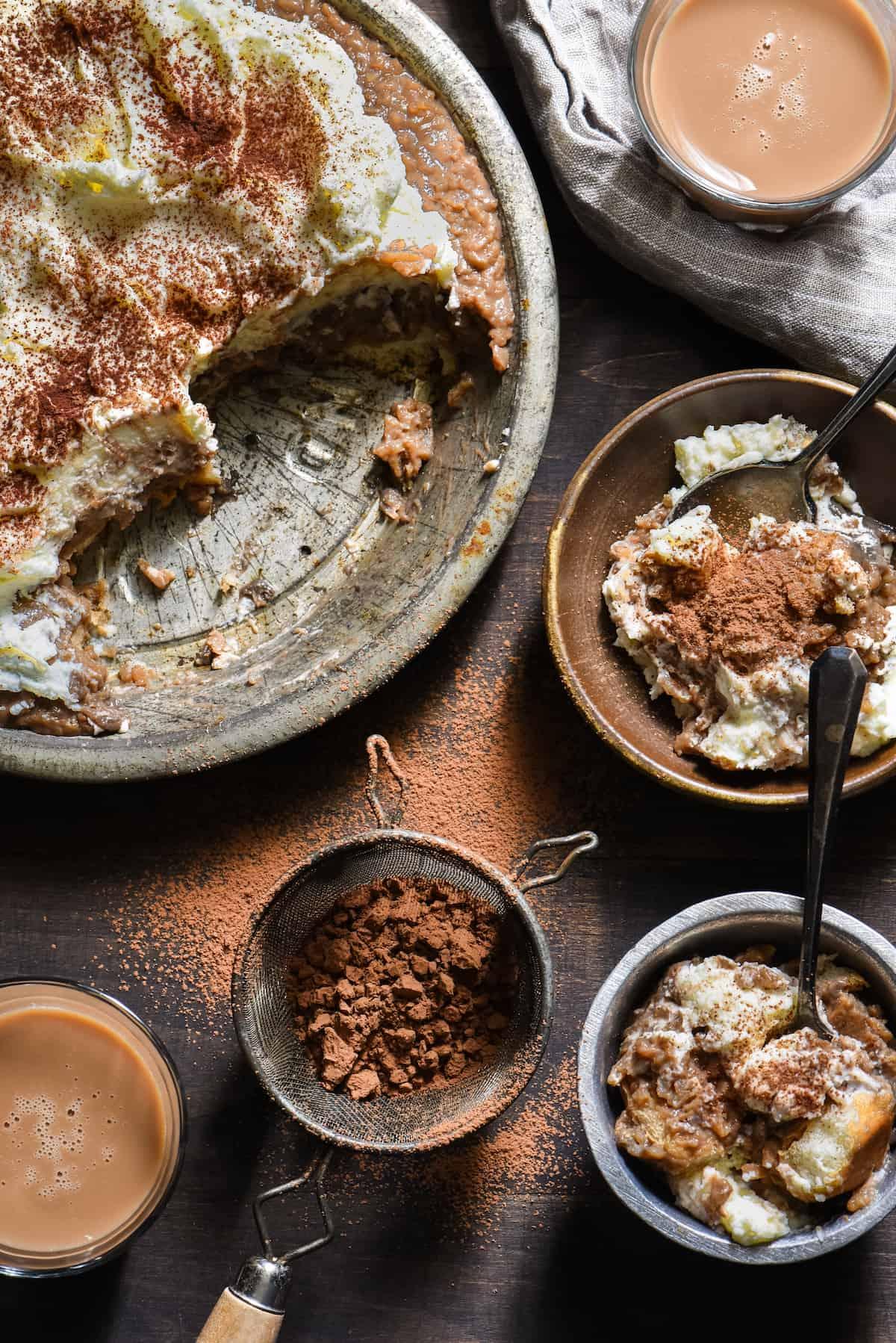 Rice Pudding Tiramisu - Layers of coffee-soaked ladyfingers, coffee rice pudding, and mascarpone whipped cream! | foxeslovelemons.com