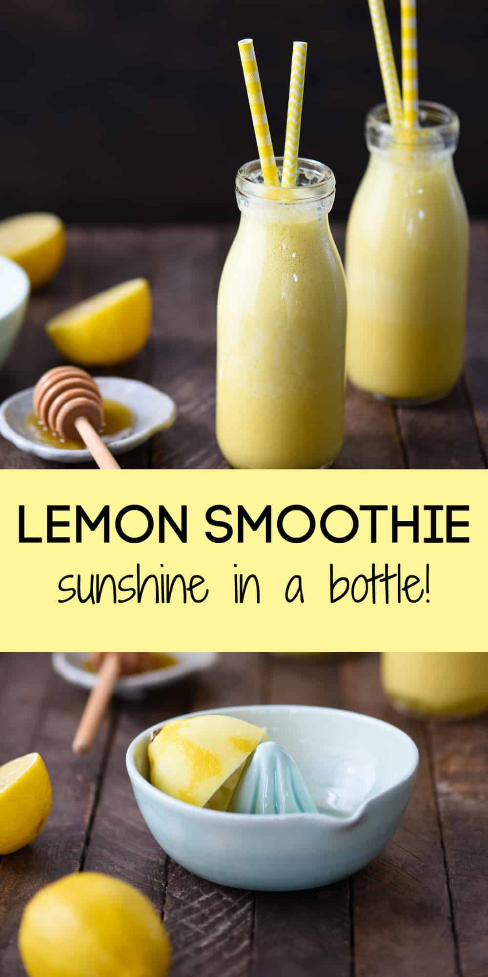 This Lemon Smoothie is like sunshine in a bottle! Yogurt, lemon, honey, ginger and turmeric will wake you up on a sleepy morning. | foxeslovelemons.com