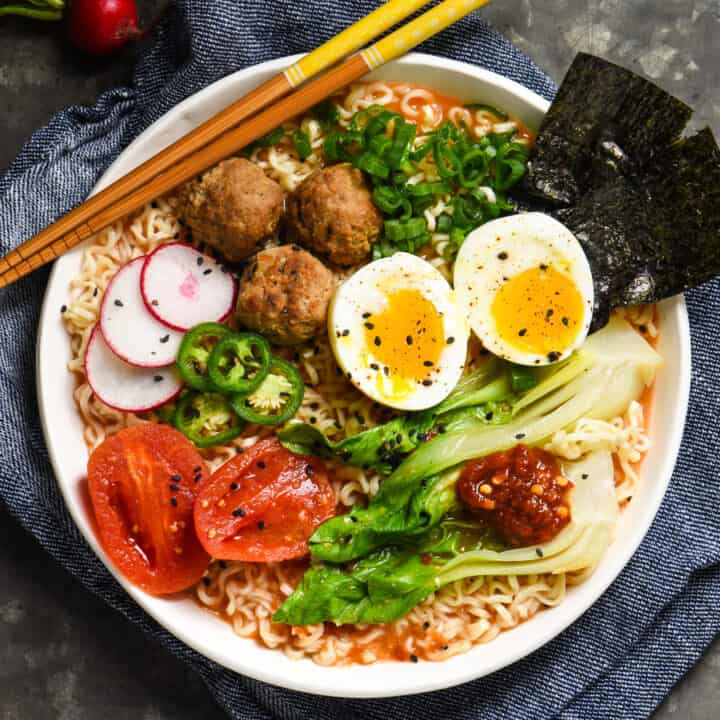 Miso-Tomato Ramen with Meatballs