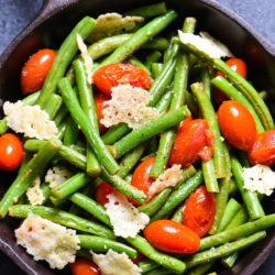 Sautéed Green Beans with Tomatoes & Crispy Parmesan - A simple but fancy-looking side dish for any special meal. | foxeslovelemons.com