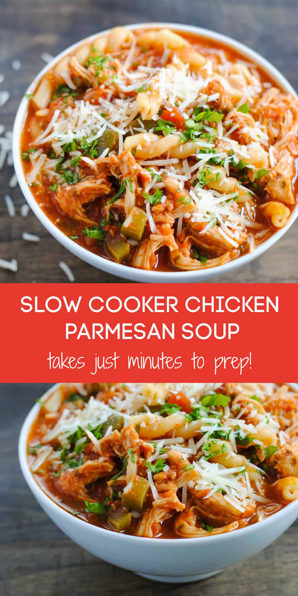 This Slow Cooker Chicken Parmesan Soup has all of the flavors of decadent Chicken Parmesan in a waistline-friendly crockpot soup! This family-friendly dinner recipe takes just minutes to prep. | foxeslovelemons.com