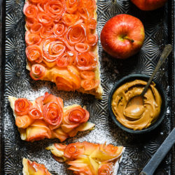 Apple Rose Tart with Peanut Butter Custard - A showstopping, delicious dessert that YOU can make at home. | foxeslovelemons.com
