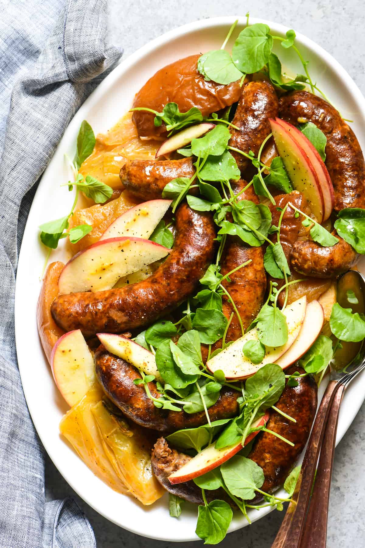 """Slow Cooker Sausage, Apples & Fennel - A simple but flavorful slow cooker dinner for the """"home chef."""" 