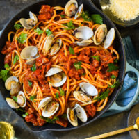 Pasta all'Amatriciana with Clams - A rich, Roman-style pasta that you can easily make at home!   foxeslovelemons.com