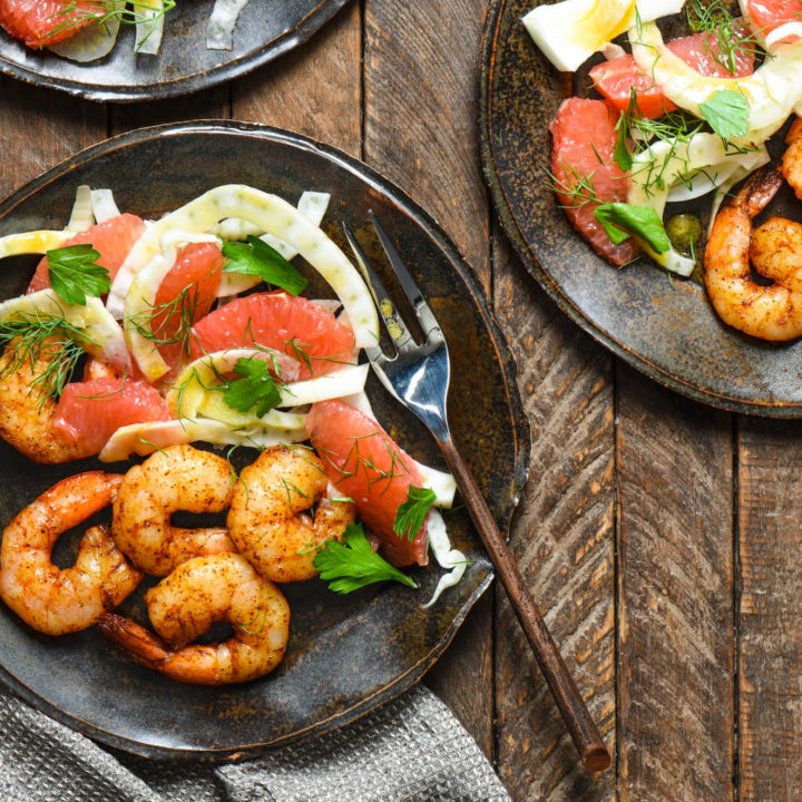 Roasted Shrimp with Grapefruit & Fennel Salad