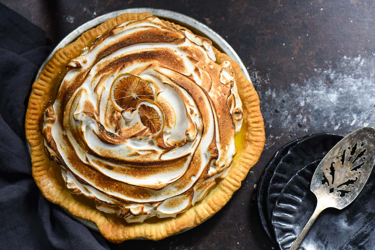 Lemon Cardamom Meringue Pie - Put an easy gourmet twist on a classic pie by adding a touch of cardamom to the meringue! | foxeslovelemons.com