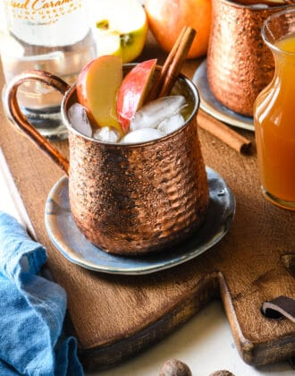 Copper moscow mule mug filled with apple cider and vodka, garnished with fresh apple slices and cinnamon sticks.