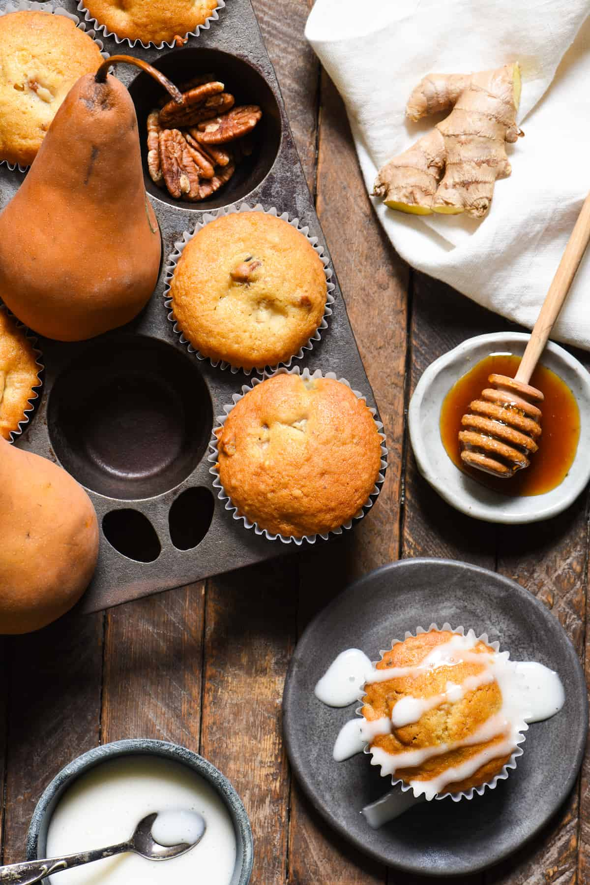 Gingered Pear Muffins with Honey Glaze | foxeslovelemons.com