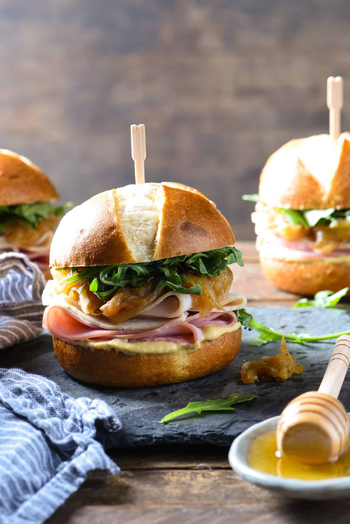 Ham & Turkey Sliders with Honey Caramelized Onions | foxeslovelemons.com