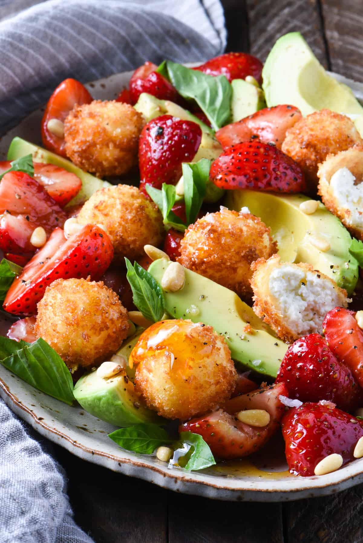 Strawberry, Avocado & Fried Goat Cheese Salad | foxeslovelemons.com