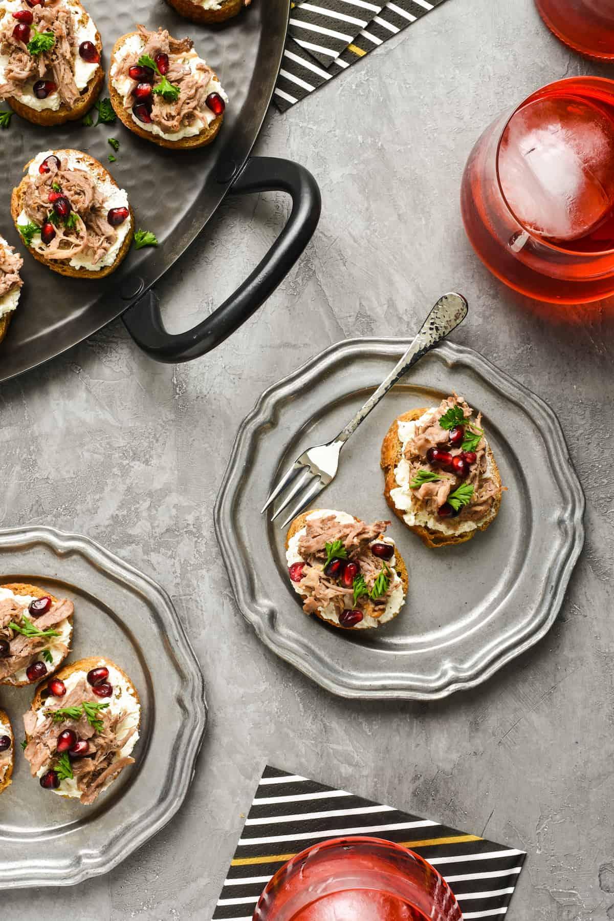 Lamb & Pomegranate Crostini | foxeslovelemons.com