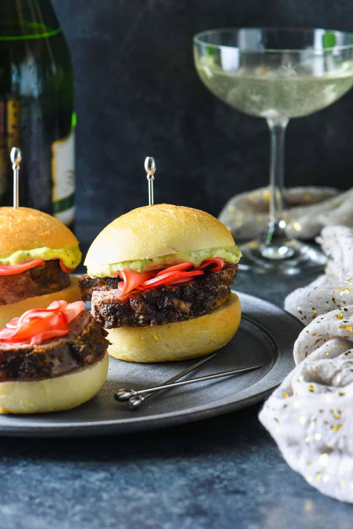 Lamb Sliders with Pesto Mayo & Pickled Radishes | foxeslovelemons.com