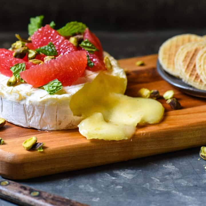 Easy Baked Brie with Grapefruit & Pistachios